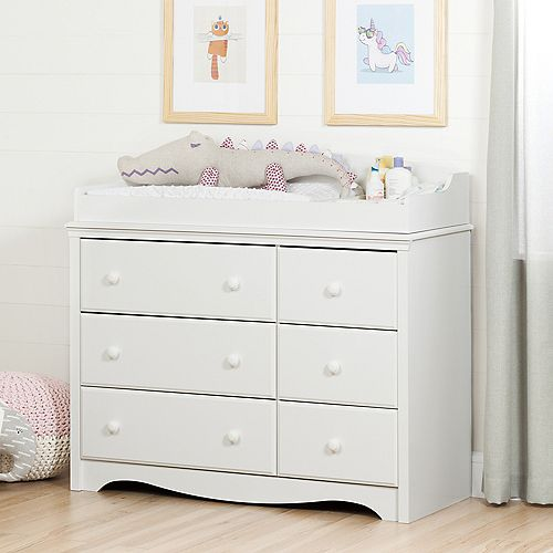 Angel Changing Table/Dresser with 6 Drawers, Pure White
