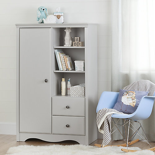 Angel Armoire with Drawers, Soft Gray