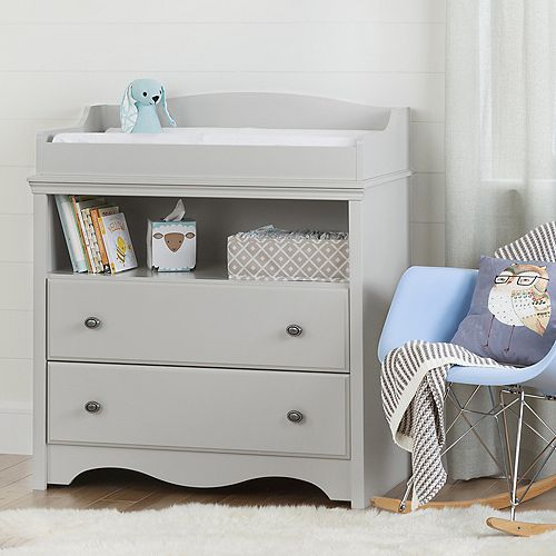 Angel Changing Table with Drawers in Soft Grey