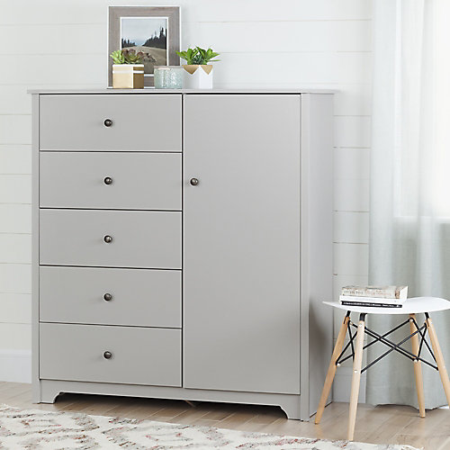 Vito Door Chest with 5 Drawers, Soft Gray