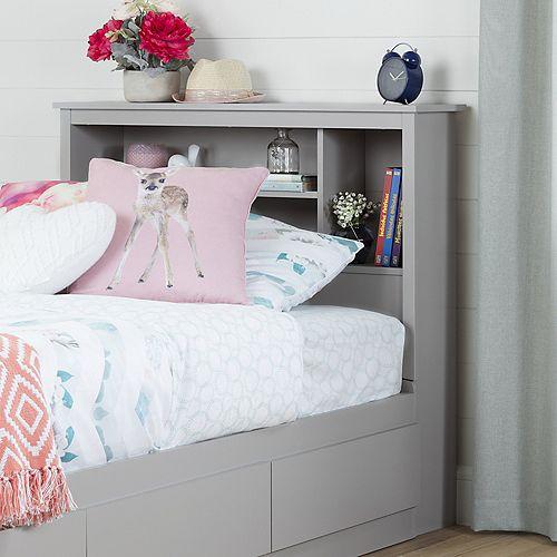 """Vito Twin Bookcase Headboard (39""""), Soft Gray"""