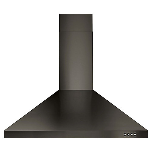30-inch Contemporary Wall Mount Range Hood in Fingerprint Resistant Black Stainless