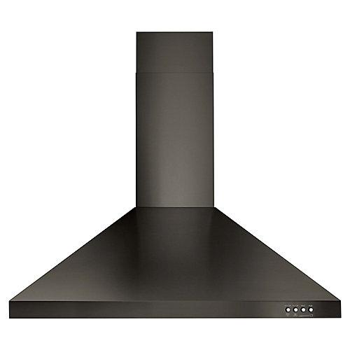 Hotte de cuisinière contemporaine murale, acier inoxydable noir, 30 po