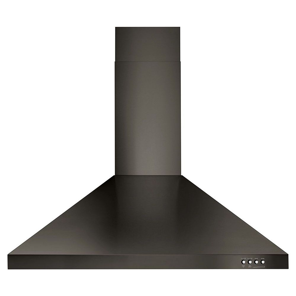 Whirlpool 30-inch Contemporary Wall Mount Range Hood in Fingerprint Resistant Black Stainless