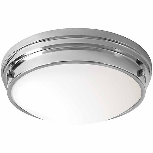 13-inch Chrome LED Flushmount Ceiling Light with Frosted White Glass Shade - ENERGY STAR