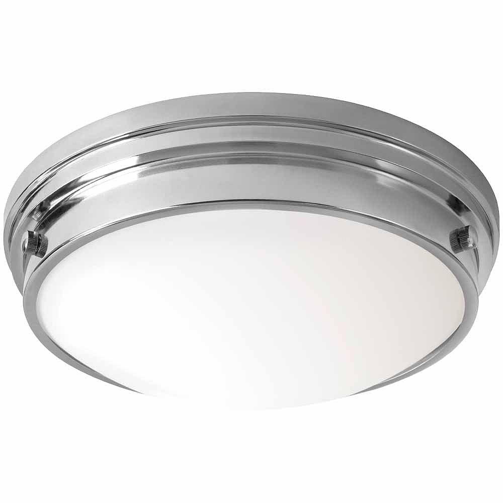 Hampton Bay Plafonnier chromé, DEL intégrée, 13po, diffuseur en verre blanc givré  ENERGY STAR