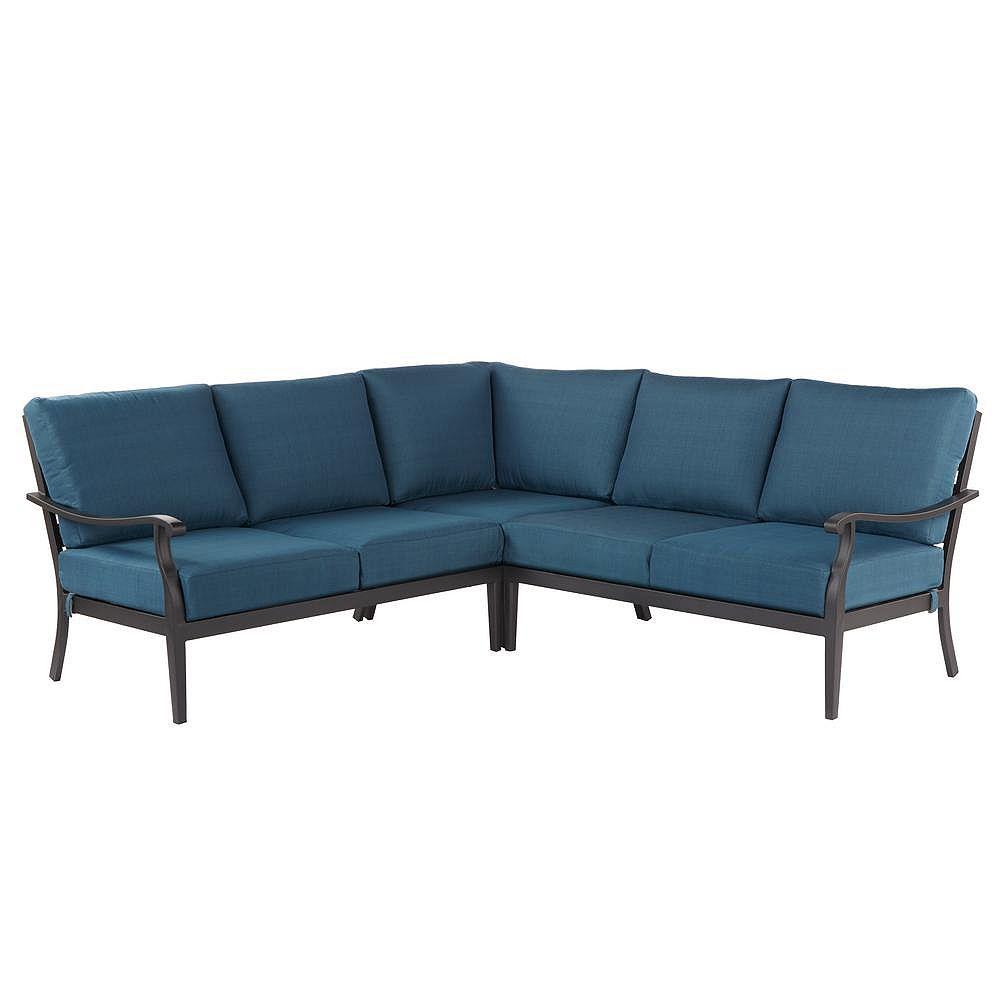 Hampton Bay Riley 3-Piece Steel Patio Sectional Seating Set