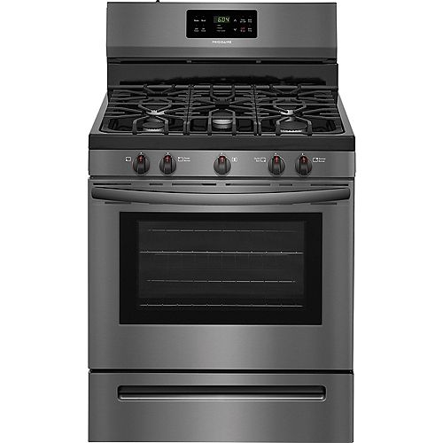 Frigidaire 30-inch 5.0 cu.ft. Freestanding Gas Range with Self-Cleaning Oven in Black Stainless Steel