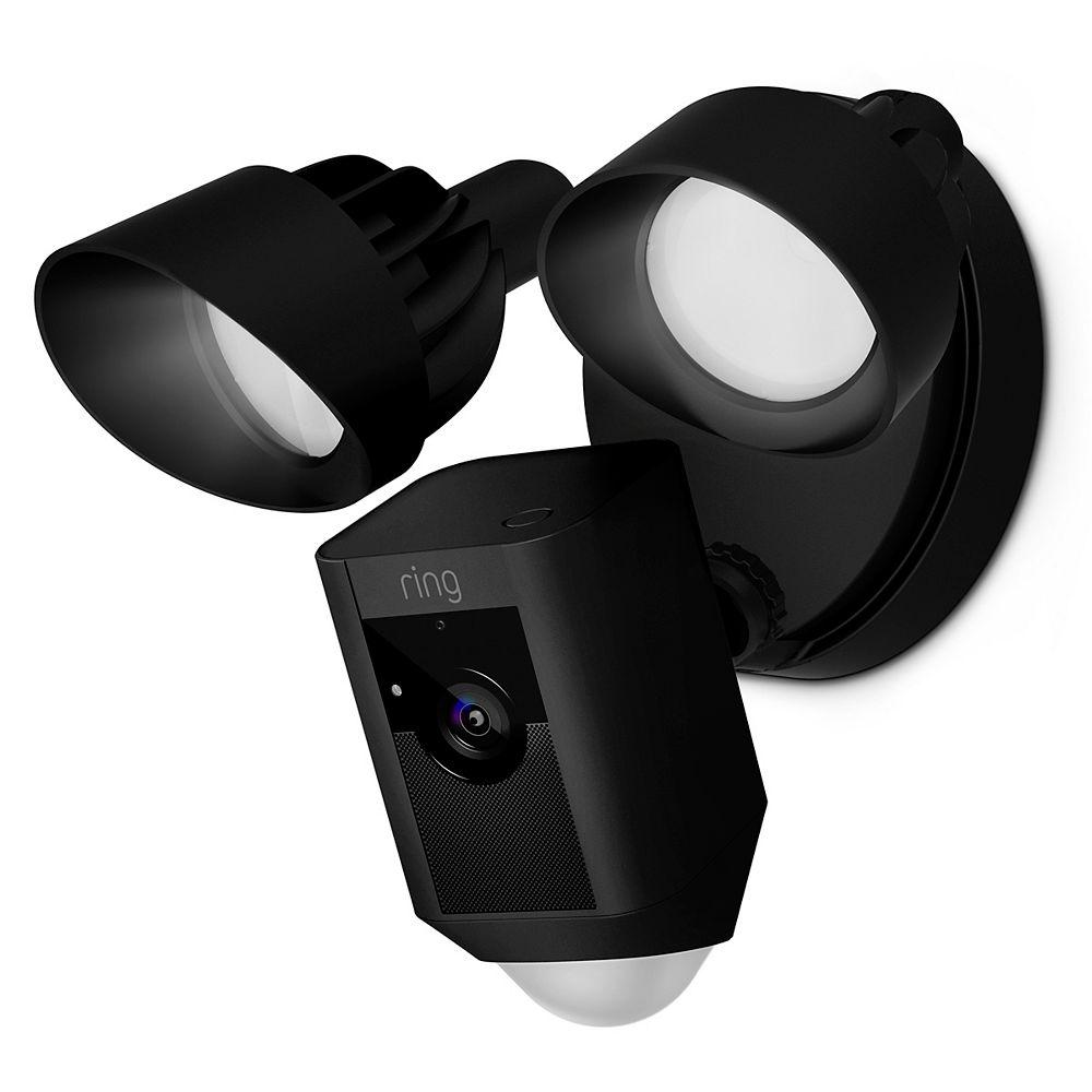 Ring Caméra avec lampes à faisceau large, noir