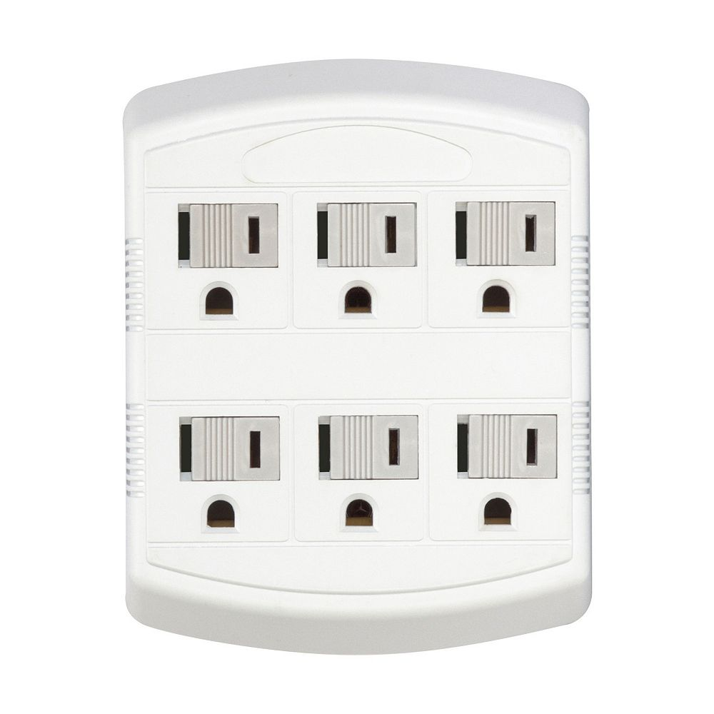 Globe Electric 6-Outlet Multi-Tap Wall Tap, Grounded, White Finish
