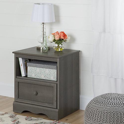Savannah 1-Drawer Nightstand, Gray Maple