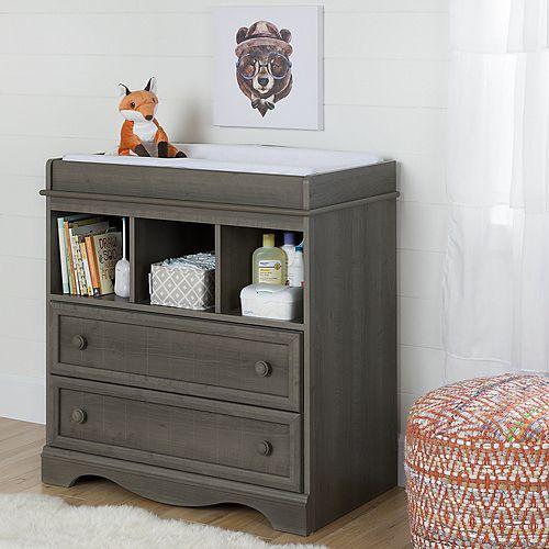 Table à langer avec tiroirs Savannah, Érable cendré