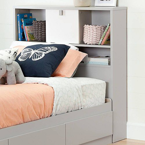 Cookie Twin Bookcase Headboard (39''), Soft Gray and Pure White
