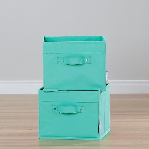 Paniers de rangement en toile, ensemble de 2 Storit, Turquoise