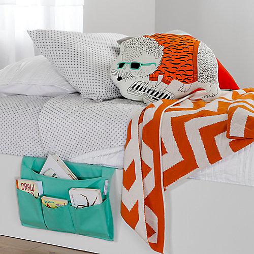 Pochette de rangement pour lit en toile Storit, Turquoise