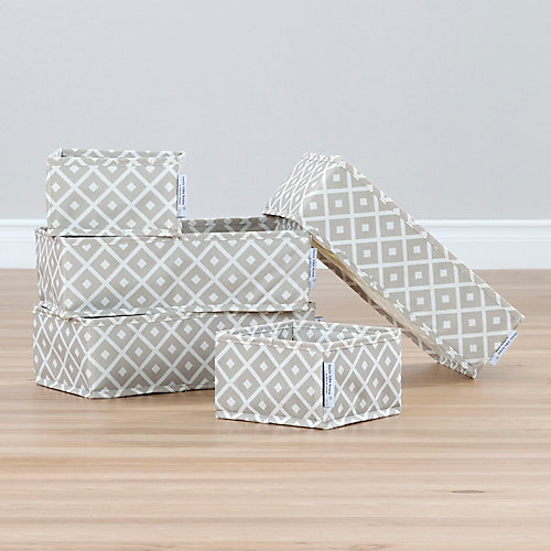 Storit Beige Canvas Drawer Organizers with Pattern (5-Pack)