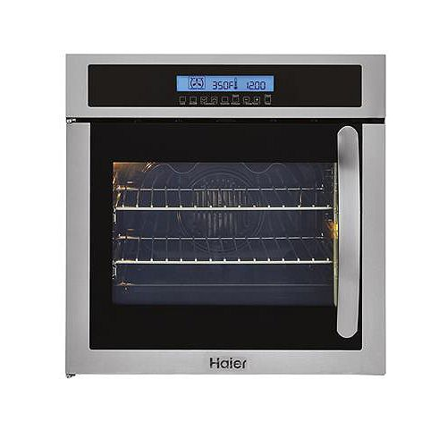 Haier 24-inch W Single Electric Left-Swing Door Wall Oven with Convection in Stainless Steel