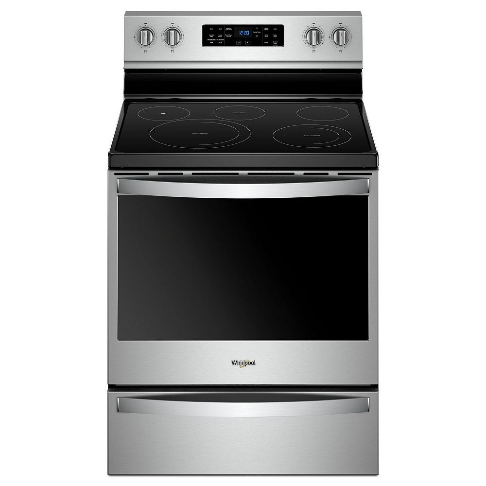 Whirlpool 6.4 cu. ft. Electric Range with Self-Cleaning Fan Convection Oven in Fingerprint Resistant Stainless Steel