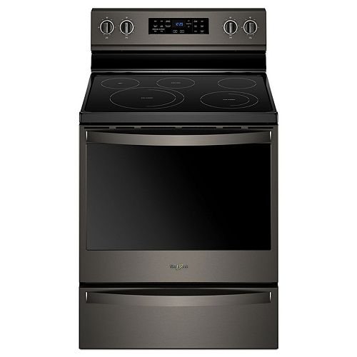 6.4 cu. ft. Electric Range with Self-Cleaning Fan Convection Oven in Black Stainless Steel