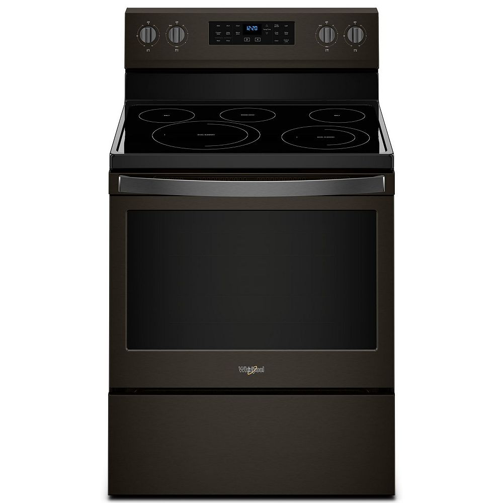 Whirlpool 5.3 cu.ft. Electric Range with Self-Cleaning Convection Oven in Fingerprint Resistant Black Stainless Steel
