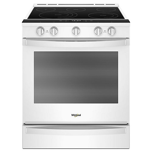6.4 cu. ft. Smart Slide-In Electric Range with Self-Cleaning Convection Oven in White