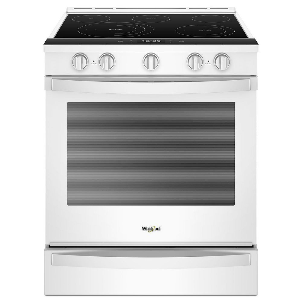 Whirlpool 6.4 cu. ft. Smart Slide-In Electric Range with Self-Cleaning Convection Oven in White