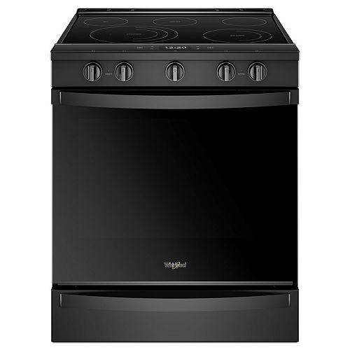 6.4 cu. ft. Smart Slide-In Electric Range with Self-Cleaning Convection Oven in Black Stainless Steel
