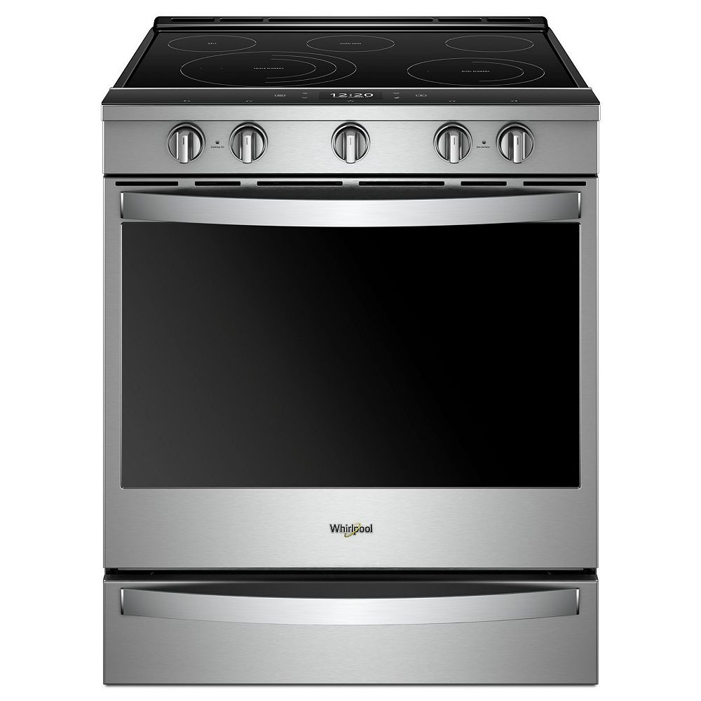 Whirlpool 6.4 cu. ft. Smart Slide-In Electric Range with Self-Cleaning Convection Oven in Stainless Steel