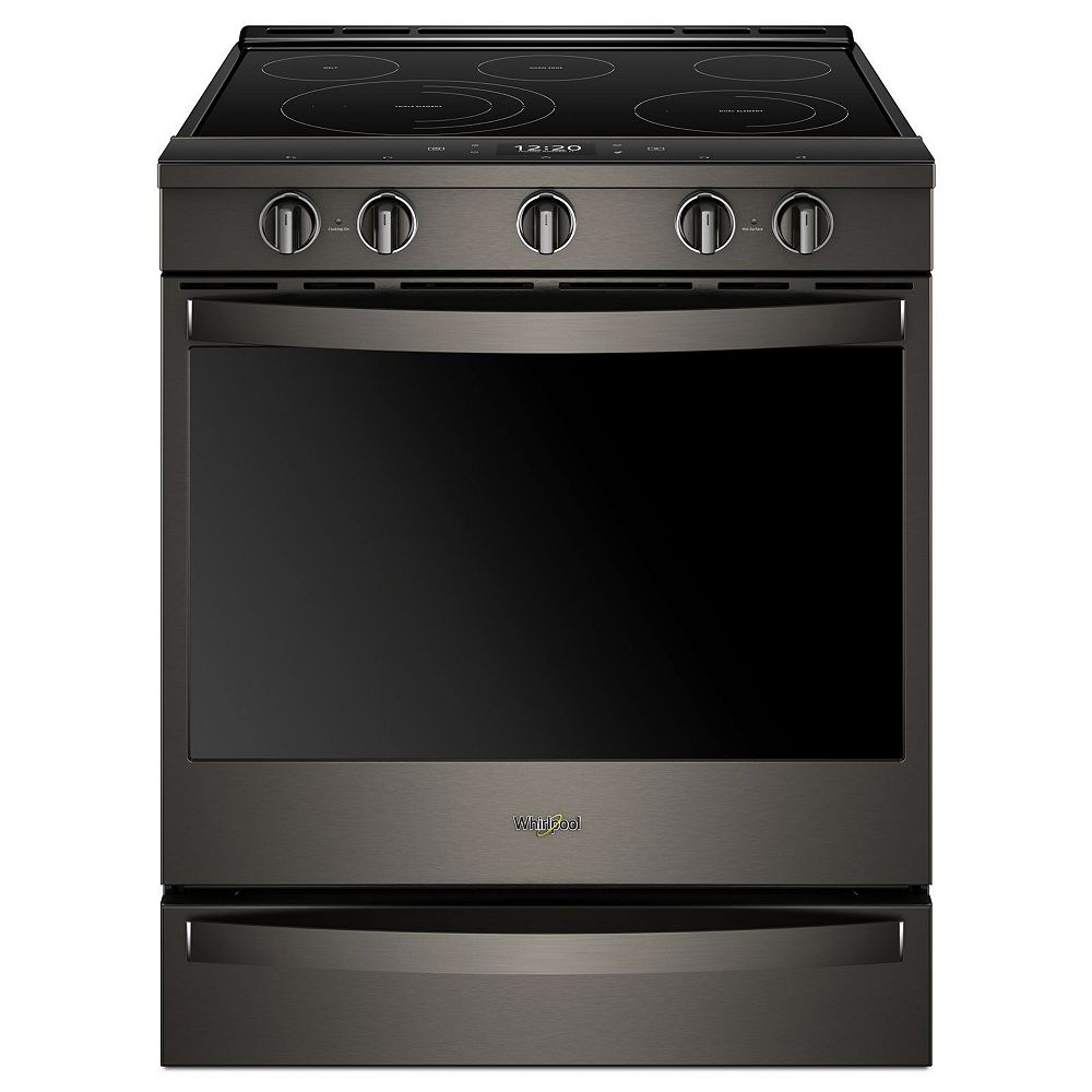 Whirlpool 6.4 cu. ft. Smart Slide-In Electric Range with Self-Cleaning Convection Oven in Black Stainless Steel