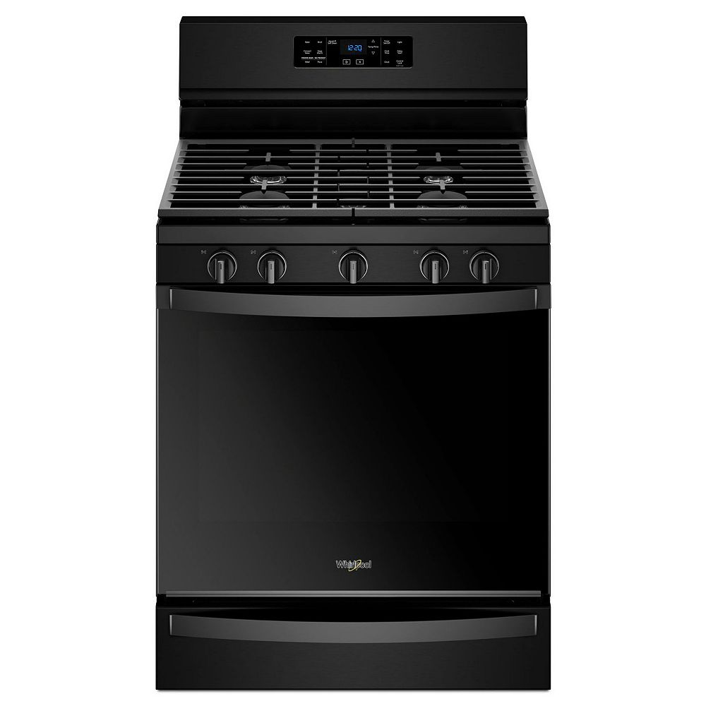 Whirlpool 5.8 cu. ft. Gas Range with Self-Cleaning Convection Oven in Black