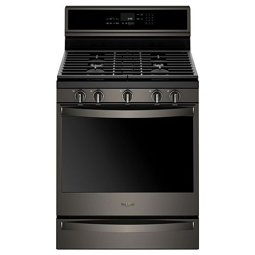 5.8 cu. ft. Smart Gas Range with Self-Cleaning Convection Oven in Fingerprint Resistant Black Stainless Steel