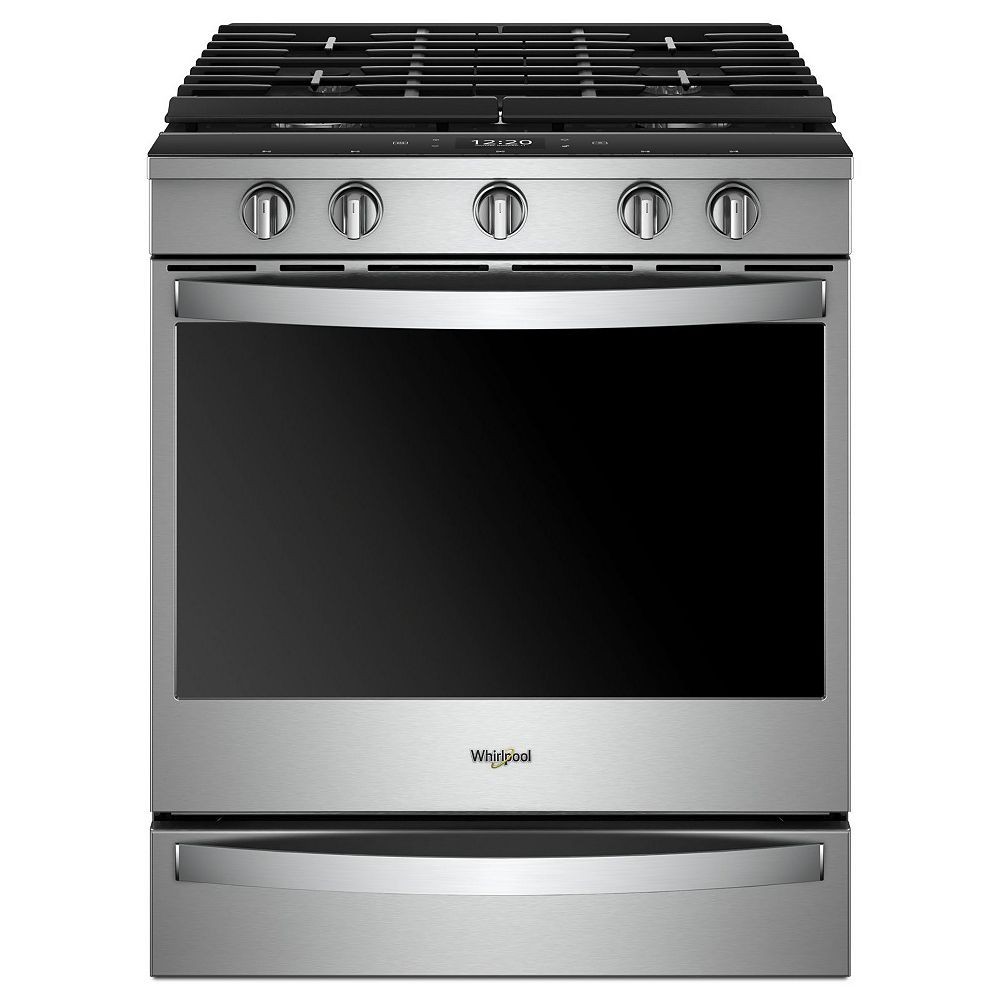 Whirlpool 5 8 Cu Ft Smart Slide In Gas Range With Convection Oven In Fingerprint Resista The Home Depot Canada