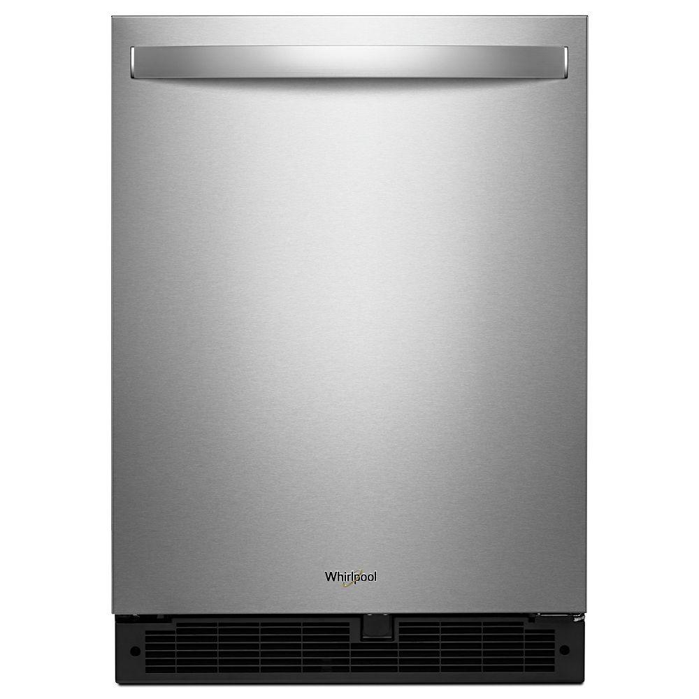 Whirlpool Réfrigérateur 24 pouces W 5,1 pieds cubes sous le comptoir en acier inoxydable résistant aux empreintes digitales - Porte pivotante à droite