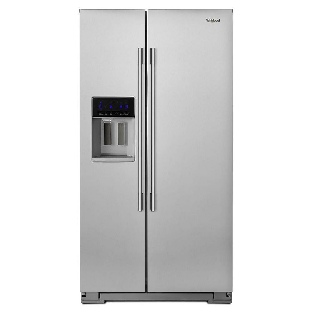 Whirlpool 36-inch W 21 cu. ft. Side by Side Refrigerator in Fingerprint Resistant Stainless Steel, Counter Depth