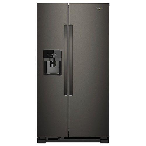 Réfrigérateur de 33 po W 21 pi. cu. côte à côte en acier inoxydable noir résistant aux empreintes digitales.