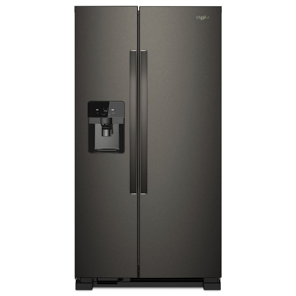 Whirlpool 36-inch W 25 cu. ft. Side by Side Refrigerator in Fingerprint Resistant Black Stainless Steel