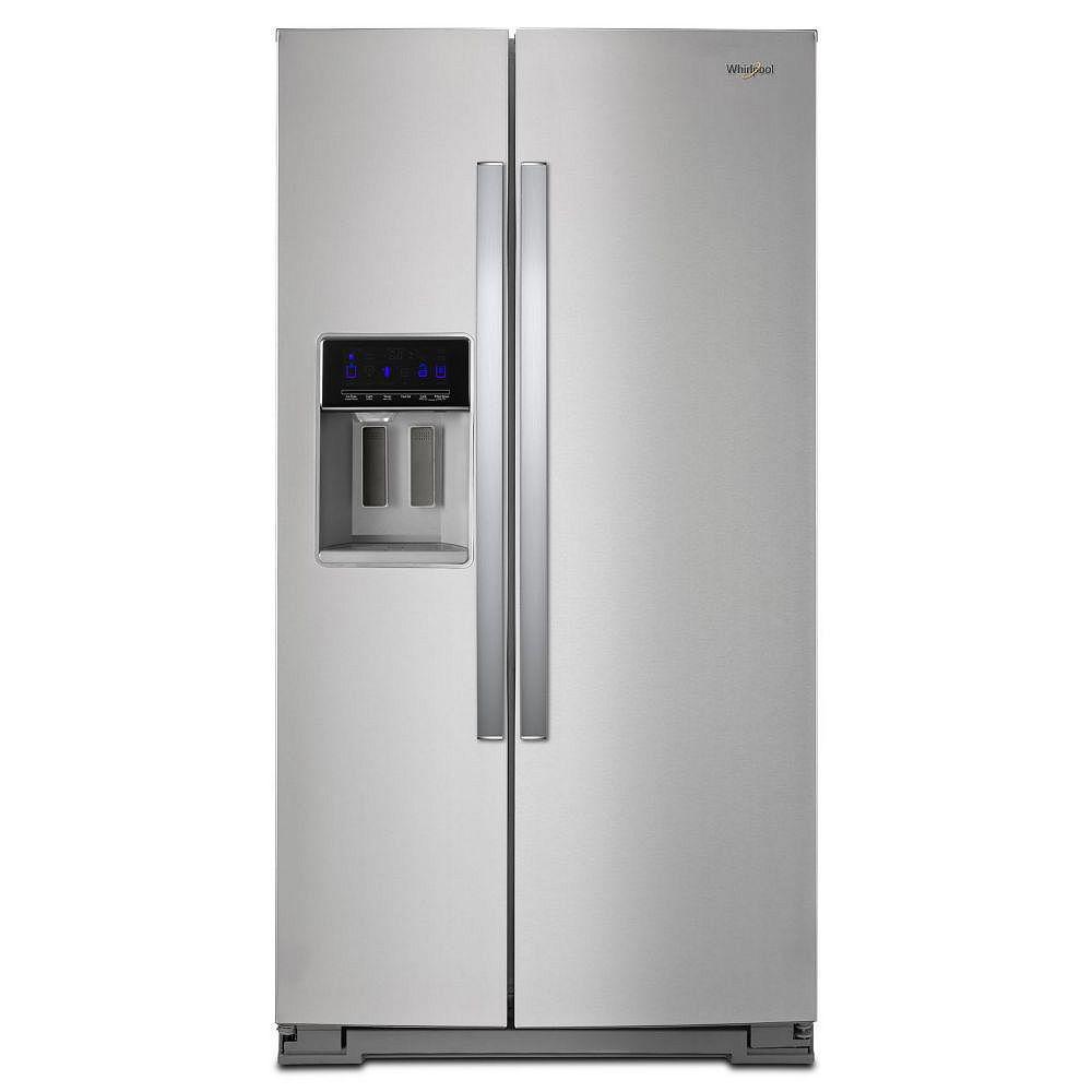 Whirlpool 36-inch W 28 cu. ft. Side by Side Refrigerator in Fingerprint Resistant Stainless Steel