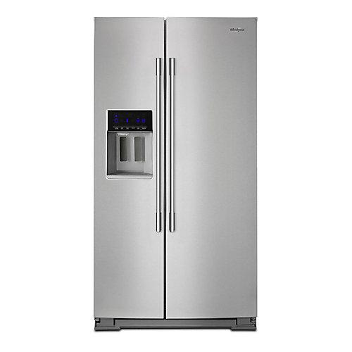 Réfrigérateur côte à côte de 36 po W 28 pi3 en acier inoxydable résistant aux empreintes digitales.