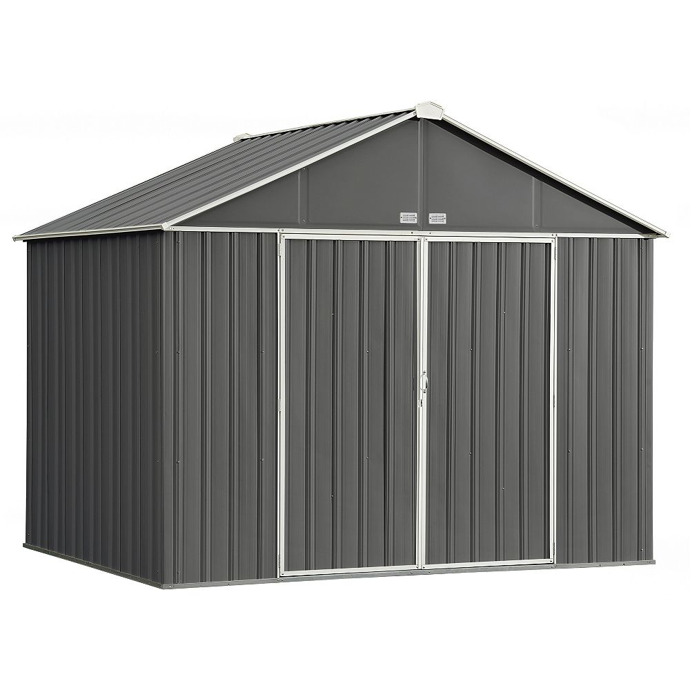 Arrow EZEE 10 ft. x 8 ft. Galvanized Steel Storage Shed with Extra High Gable in Charcoal with Cream Trim