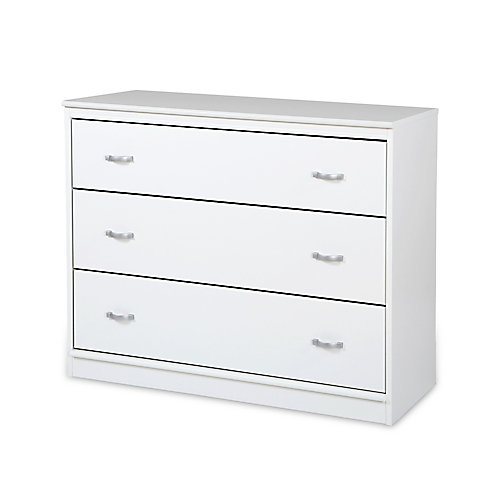 Commode 3 tiroirs Mobby, Blanc solide