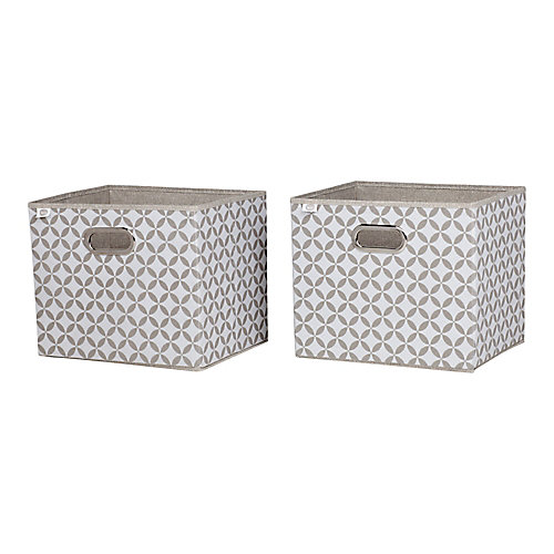 Storit Taupe and White Fabric Storage Baskets with Pattern, (2-Pack)