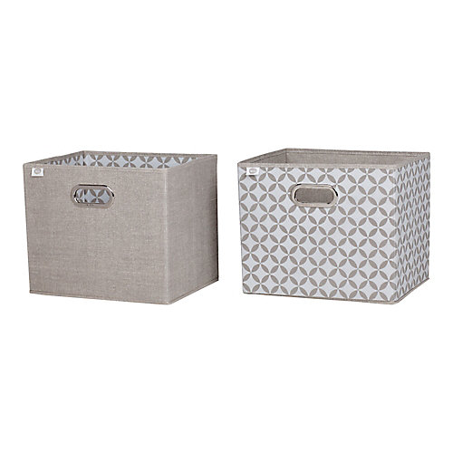 Storit Taupe and White Fabric Storage Baskets, Chambray and Patterned, (2-Pack)