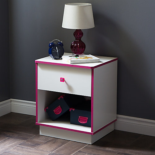 Logik 1-Drawer Nightstand, Pure White and Pink