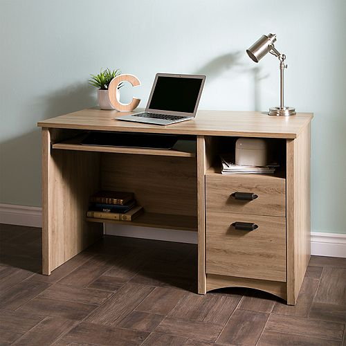Gascony Computer Desk with Keyboard Tray, Rustic Oak