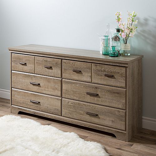 Versa 6-Drawer Double Dresser, Weathered Oak