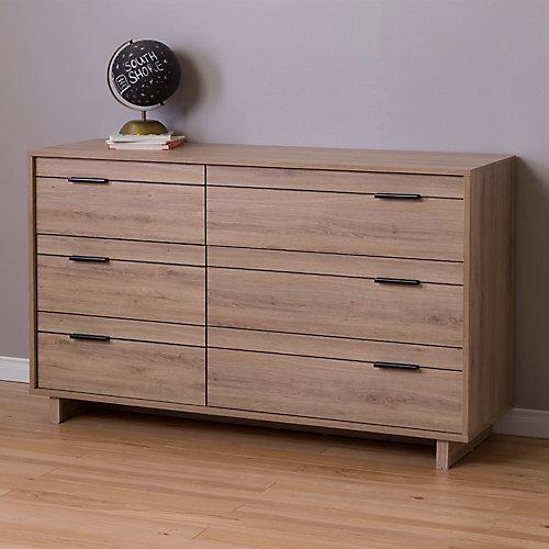 Fynn 6-Drawer Double Dresser, Rustic Oak