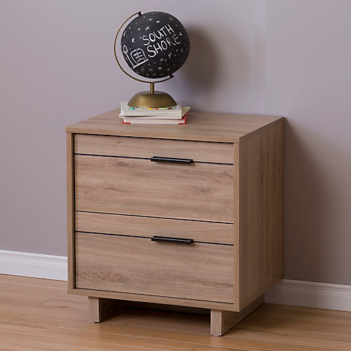 Fynn 2-Drawer Nightstand, Rustic Oak