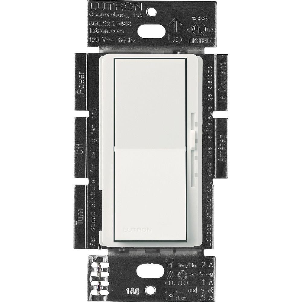 Lutron Commandes de ventilateur et de commutateur d'éclairage Diva pour tous les types d'ampoules, blanc