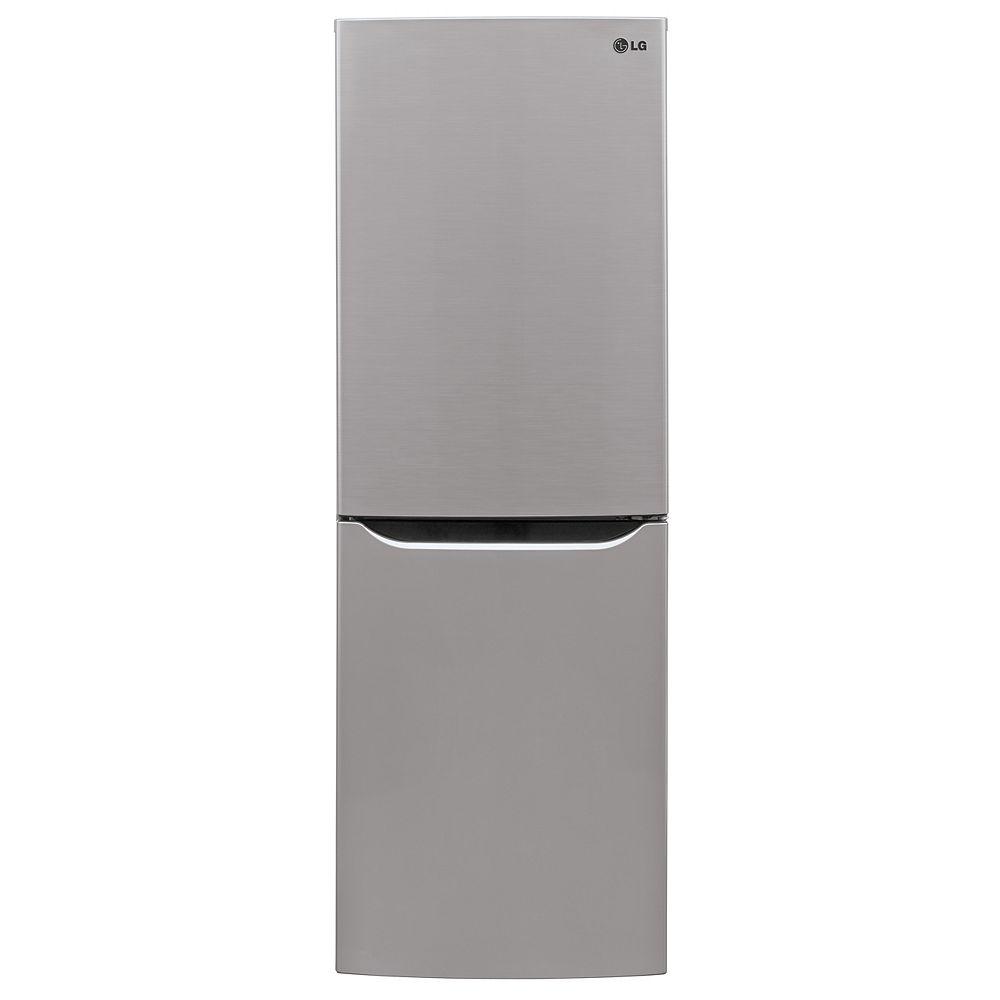 LG Electronics 24-inch W 10 cu. ft. Bottom Freezer Refrigerator in Platinum Silver, Apartment-Size, Counter-Depth