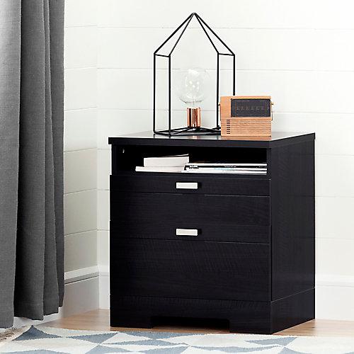 Table de chevet avec tiroirs et organisateur de fils Reevo, Onyx noir